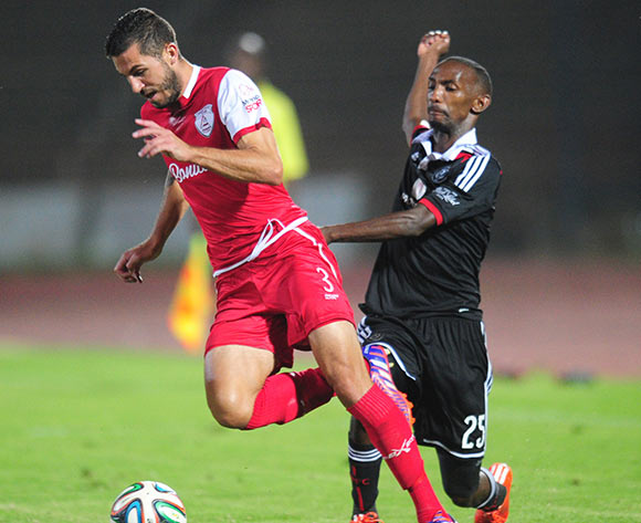 Sanile Cardoso of Free State Stars battling Thabo Rakhale of Orlando Pirates during the Absa Premiership 2014/15 football match between Free State Stars and Orlando Pirates at the Charles Mopeli Stadium in Pietermaritzburg , Kwa-Zulu Natal on the 4th of March 2015  ©Sabelo Mngoma/BackpagePix