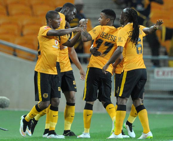 Mandla Masango of Kaizer Chiefs celebrates his goal with teammates during the Absa Premiership 2014/15 match between Kaizer Chiefs and Ajax Cape Town at the FNB Stadium, Johannesburg on the 04 March 2015