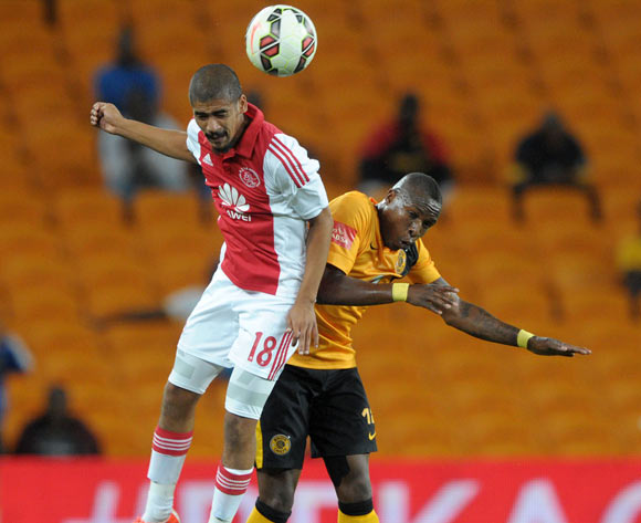 George Maluleka of Kaizer Chiefs battles with Abbubaker Mobara of Ajax Cape Town during the Absa Premiership 2014/15 match between Kaizer Chiefs and Ajax Cape Town at the FNB Stadium, Johannesburg on the 04 March 2015