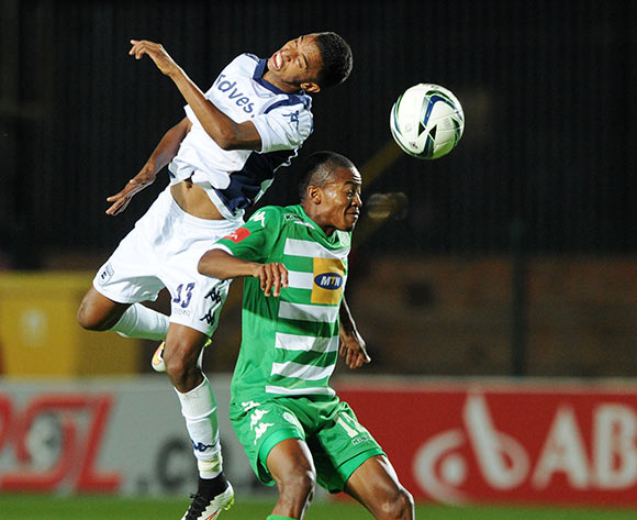 Thapelo Morena of Bloemfontein Celtic battles with Sameehg Doutie of Bidvest Wits during the Absa Premiership 2014/15 match between Bidvest Wits and Bloemfontein Celtics at the Bidvest Stadium, Johannesburg on the 06 March 2015  ©Muzi Ntombela/BackpagePix