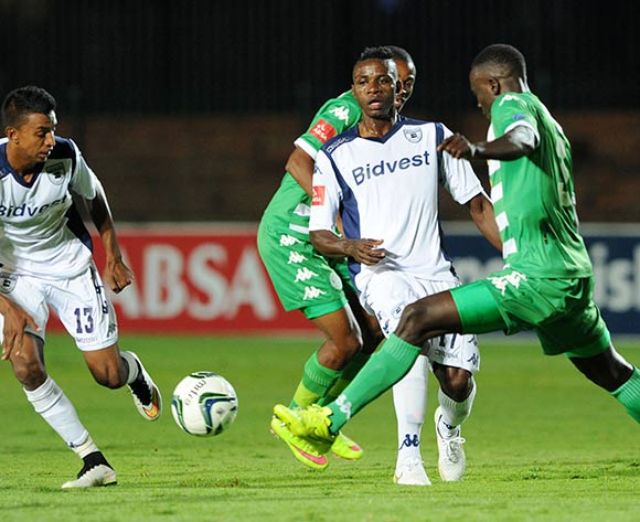 Papy Faty of Bidvest Wits challenged by Limbikani Mzava of Bloemfontein Celtics during the Absa Premiership 2014/15 match between Bidvest Wits and Bloemfontein Celtics at the Bidvest Stadium, Johannesburg on the 06 March 2015  ©Muzi Ntombela/BackpagePix