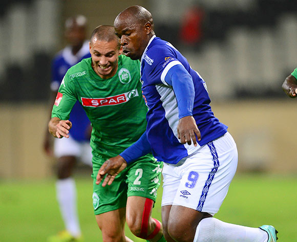 Roscoe Pietersen of Amazulu and Collins Mbesuma of Mpumalanga Black Aces during the Absa Premiership Football match between Mpumalanga Black Aces and AmaZulu at the Mbombela Stadium in Nelspruit on March 7, 2015  ©Barry Aldworth/BackpagePix