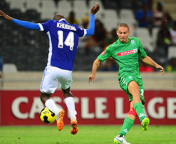 Thanduyise Khuboni of Mpumalanga Black Aces and Roscoe Pietersen of Amazulu during the Absa Premiership Football match between Mpumalanga Black Aces and AmaZulu at the Mbombela Stadium in Nelspruit on March 7, 2015  ©Barry Aldworth/BackpagePix