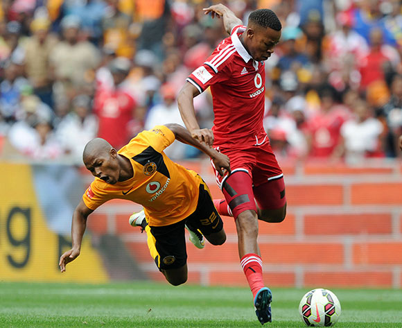 Mandla Masango of Kaizer Chiefs fouled by Happy Jele of Orlando Pirates  during the Absa Premiership 2014/15 match between Kaizer Chiefs and Orlando Pirates at the FNB Stadium, Johannesburg on the 07 March 2015  ©Muzi Ntombela/BackpagePix
