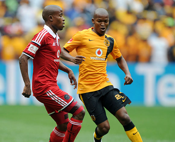 Thabo Matlaba of Orlando Pirates challenged by Mandla Masango of Kaizer Chiefs  during the Absa Premiership 2014/15 match between Kaizer Chiefs and Orlando Pirates at the FNB Stadium, Johannesburg on the 07 March 2015  ©Muzi Ntombela/BackpagePix