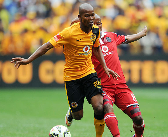 Mandla Masango of Kaizer Chiefs challenged by Thabo Matlaba of Orlando Pirates  during the Absa Premiership 2014/15 match between Kaizer Chiefs and Orlando Pirates at the FNB Stadium, Johannesburg on the 07 March 2015  ©Muzi Ntombela/BackpagePix