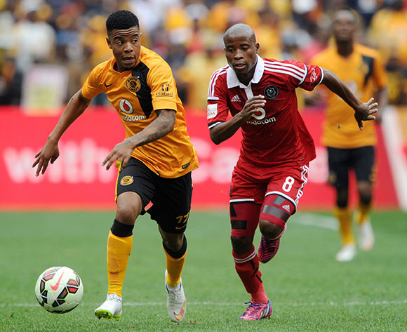 George Lebese of Kaizer Chiefs challenged by Thabo Matlaba of Orlando Pirates  during the Absa Premiership 2014/15 match between Kaizer Chiefs and Orlando Pirates at the FNB Stadium, Johannesburg on the 07 March 2015  ©Muzi Ntombela/BackpagePix