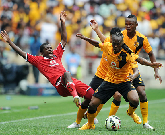 Sifiso Myeni of Orlando Pirates fouled by George Lebese and Reneilwe Letsholonyane of Kaizer Chiefs   during the Absa Premiership 2014/15 match between Kaizer Chiefs and Orlando Pirates at the FNB Stadium, Johannesburg on the 07 March 2015  ©Muzi Ntombela/BackpagePix