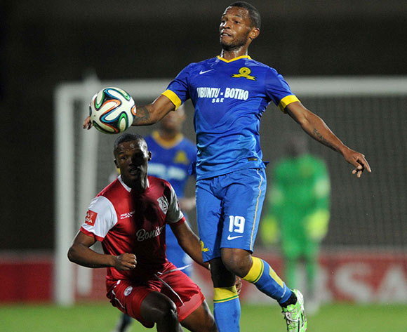 Angelo Kerspuy of Free State Stars battles with Mzikayise Mashaba of Mamelodi Sundowns   during the Absa Premiership match between Free State Stars and Mamelodi Sundowns on 07 March 2015 at Charles Mopeli Stadium Pic Sydney Mahlangu/BackpagePix
