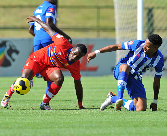 Atusaye Nyondo of University of Pretoria challenged by Nhlanhla Vilakazi of Maritzburg United during the Absa Premiership 2014/15 football match between University of Pretoria and Maritzburg United at the Tuks Stadium in Pretoria, South Africa on March 08, 2015 ©Samuel Shivambu/BackpagePix