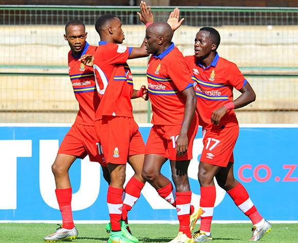 Atusaye Nyondo of University of Pretoria celebrates his goal with hia teammates during the Absa Premiership 2014/15 football match between University of Pretoria and Maritzburg United at the Tuks Stadium in Pretoria, South Africa on March 08, 2015 ©Samuel Shivambu/BackpagePix