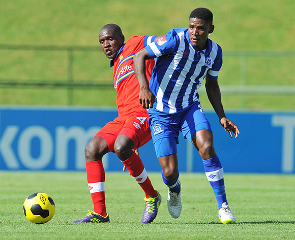 Mohau Mokate of Maritzburg United challenged by Tebogo Monyai of University Pretoria during the Absa Premiership 2014/15 football match between University of Pretoria and Maritzburg United at the Tuks Stadium in Pretoria, South Africa on March 08, 2015 ©Samuel Shivambu/BackpagePix