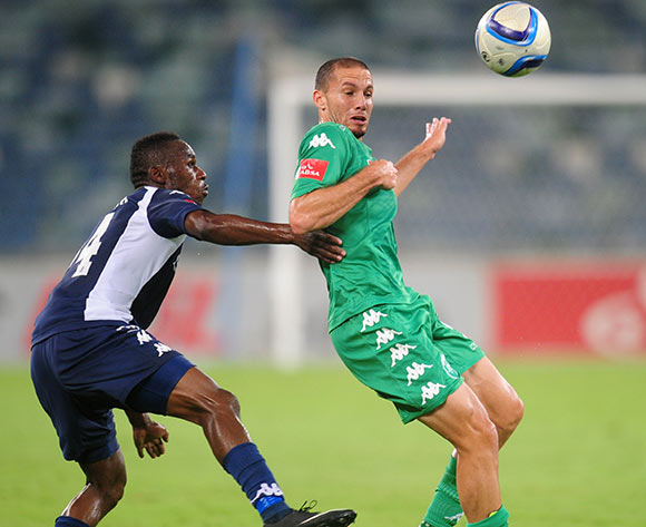 Roscoe Pietersen of AmaZulu battles Onismor Bhasera of Bidvest Wits during the Absa Premiership 2014/15 football match between AmaZulu and Bidvest Wits at the Moses Mabhida Stadium in Durban Kwa-Zulu Natal on the 10th of March  2015  ©Sabelo Mngoma/BackpagePix