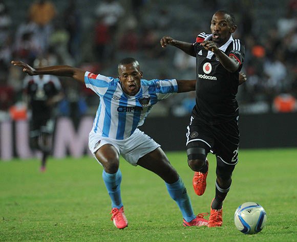 Gert Barends of Chippa United battles with Thabo Rakhale of Orlando Pirates   during the Absa Premiership match between Orlando Pirates and Chippa United on 10 March 2015 at Orlando Stadium Pic Sydney Mahlangu/BackpagePix