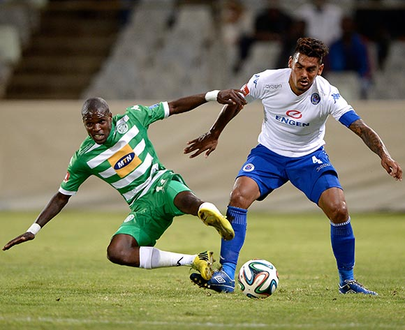 Lerato Lamola of Bloemfontein Celtic and Clayton Daniels of Supersport United during the Absa Premiership match between Bloemfontein Celtic FC and Supersport United FC at the Free State Stadium  on 11 March 2015