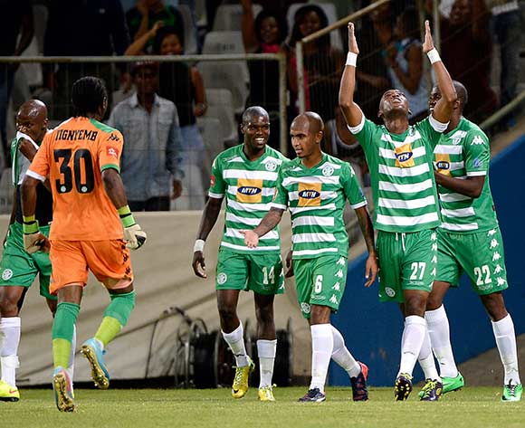 Alfred Ndengane of Bloemfontein Celtic celebrate his goal during the Absa Premiership match between Bloemfontein Celtic FC and Supersport United FC at the Free State Stadium  on 11 March 2015