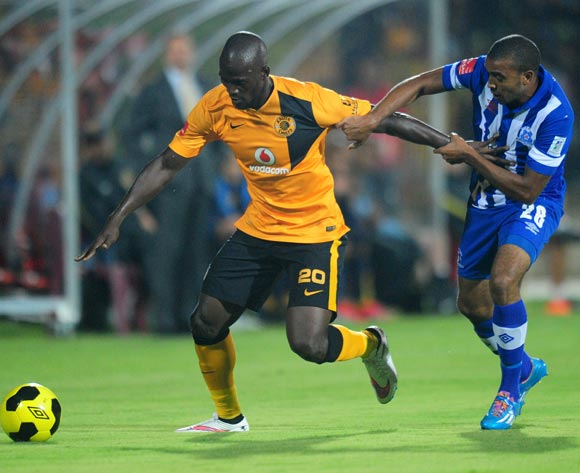 Siphelele Mthembu of kaizer Chiefs and Deolin Mekoa of Maritzburg United during the Absa Premiership 2014/15 football match between Maritzburg United and  Kaizer Chiefs at the Harry Gwala Stadium in Pietermaritzburg , Kwa-Zulu Natal on the 11th of March 2015