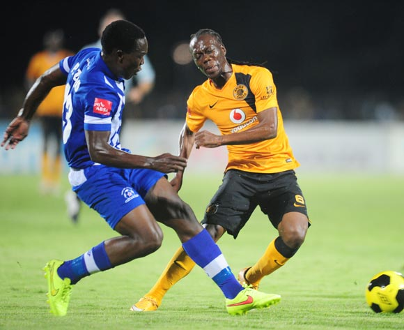 Reneilwe Letsholonyane of Kaizer Chiefs battles Philani Zulu of Maritzburg United during the Absa Premiership 2014/15 football match between Maritzburg United and  Kaizer Chiefs at the Harry Gwala Stadium in Pietermaritzburg , Kwa-Zulu Natal on the 11th of March 2015