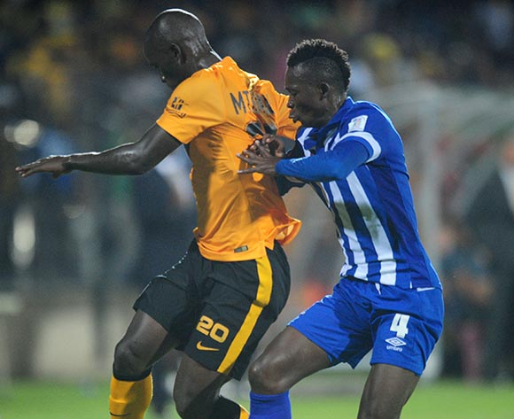 John Pantsil of Maritzburg United battling Siphelele Mthembu of kaizer Chiefs during the Absa Premiership 2014/15 football match between Maritzburg United and  Kaizer Chiefs at the Harry Gwala Stadium in Pietermaritzburg , Kwa-Zulu Natal on the 11th of March 2015  ©Sabelo Mngoma/BackpagePix