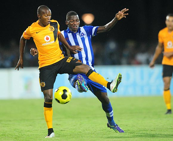 Mandla Masango of Kaizer Chiefs battles Thamsanqa Mkhize of Maritzburg United during the Absa Premiership 2014/15 football match between Maritzburg United and  Kaizer Chiefs at the Harry Gwala Stadium in Pietermaritzburg , Kwa-Zulu Natal on the 11th of March 2015  ©Sabelo Mngoma/BackpagePix