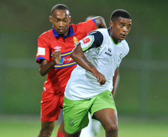 Nyanda Mduduzi of Platinum Stars challenged by Thabo Mnyamane of University Pretoria during the 2015 Varsity Cup match between Tuks and Cut at the Tuks Stadium in Pretoria, South Africa on March 11, 2015