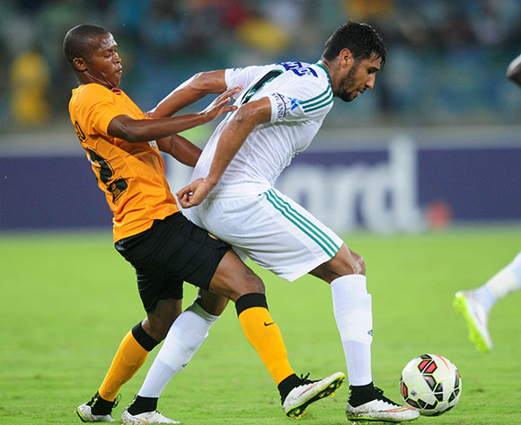 Bemammer Mohammedali of Raja Casablanca battles Mandla Masango of Kaizer Chiefs during the 2015 CAF Champions League football match between Kaizer Chiefs and  Raja Casablanca at the Moses Mabhida Stadium in Durban , Kwa-Zulu Natal on the 14th of March 2015  ©Sabelo Mngoma/BackpagePix