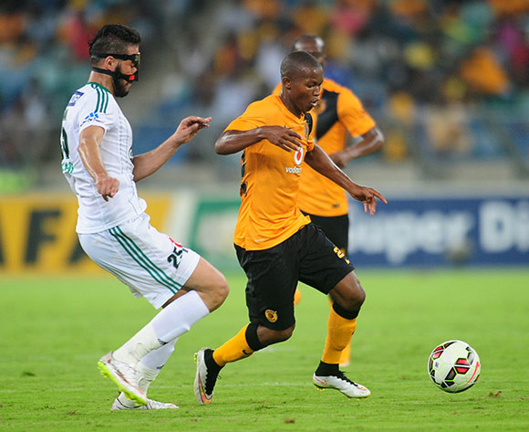 Mandla Masango of Kaizer Chiefs battles Salhi Yassine of Raja Casablanca during the 2015 CAF Champions League football match between Kaizer Chiefs and  Raja Casablanca at the Moses Mabhida Stadium in Durban , Kwa-Zulu Natal on the 14th of March 2015  ©Sabelo Mngoma/BackpagePix