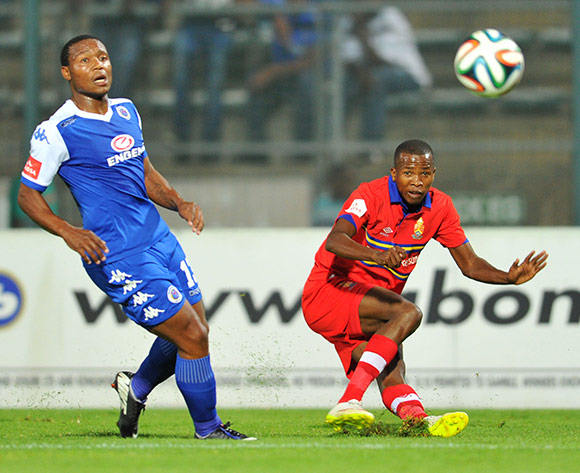 Thabo Mosadi of University Pretoria challenged by Thuso Phala of Supersport United during the Absa Premiership 2014/15 football match between Supersport United and University of Pretoria at the Lucas Moripe Stadium in Pretoria, South Africa on March 14, 2015 ©Samuel Shivambu/BackpagePix