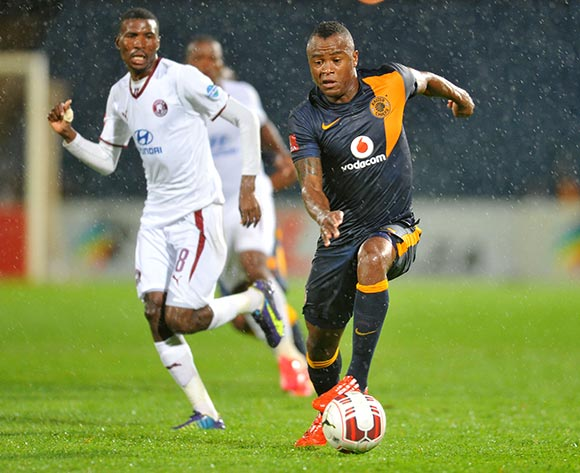 Tsepo Masilela of Kaizer Chiefs challenged by Lucky Baloyi of Moroka Swallows during the Absa Premiership match between Moroka Swallows and Kaizer Chiefs at the Dobsonville Stadium in Johannesburg, South Africa on March 18, 2015 ©Samuel Shivambu/BackpagePix