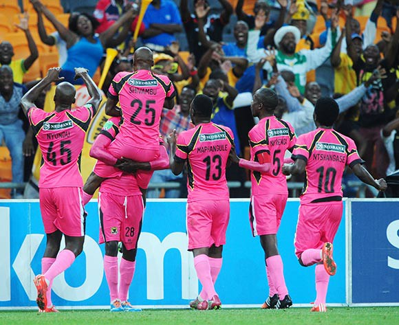 Morgan Shivambu of Black Leopards celebrates his goal with teammates during the 2015 Nedbank Cup match between Kaizer Chiefs and Black Leopards at the FNB Stadium, Johannesburg on the 21 March 2015  ©Muzi Ntombela/BackpagePix