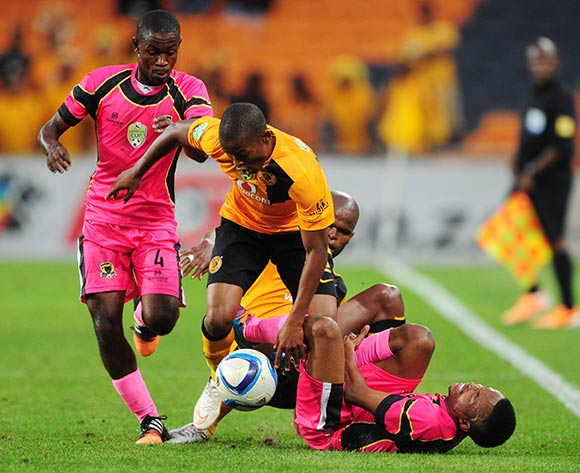 Mandla Masango of Kaizer Chiefs battles with Lebogang Mabotja of  Black Leopards during the 2015 Nedbank Cup match between Kaizer Chiefs and Black Leopards at the FNB Stadium, Johannesburg on the 21 March 2015  ©Muzi Ntombela/BackpagePix