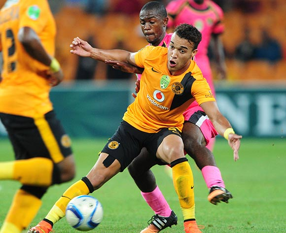 Matthew Rusike of Kaizer Chiefs challenged by Lebogang Mabotja of Black Leopards during the 2015 Nedbank Cup match between Kaizer Chiefs and Black Leopards at the FNB Stadium, Johannesburg on the 21 March 2015  ©Muzi Ntombela/BackpagePix