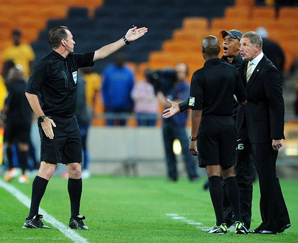 Stuart Baxter, coach of Kaizer Chiefs given a red card by Referee Daniel Bennett during the 2015 Nedbank Cup match between Kaizer Chiefs and Black Leopards at the FNB Stadium, Johannesburg on the 21 March 2015  ©Muzi Ntombela/BackpagePix