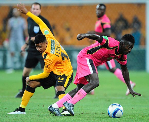 Abubakar Mumuni of Black Leopards battles with George Lebese of Kaizer Chiefs during the 2015 Nedbank Cup match between Kaizer Chiefs and Black Leopards at the FNB Stadium, Johannesburg on the 21 March 2015  ©Muzi Ntombela/BackpagePix