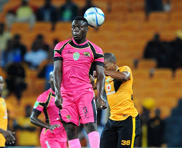 Meshack Maphangule of Black Leopards challenged by Simphiwe Mtsweni of Kaizer Chiefs  during the 2015 Nedbank Cup match between Kaizer Chiefs and Black Leopards at the FNB Stadium, Johannesburg on the 21 March 2015  ©Muzi Ntombela/BackpagePix