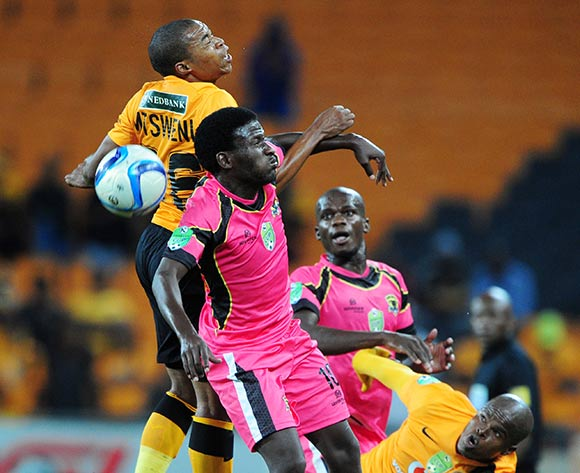 Simphiwe Mtsweni of Kaizer Chiefs battles with Leonard Ntshangase of Black Leopards during the 2015 Nedbank Cup match between Kaizer Chiefs and Black Leopards at the FNB Stadium, Johannesburg on the 21 March 2015  ©Muzi Ntombela/BackpagePix