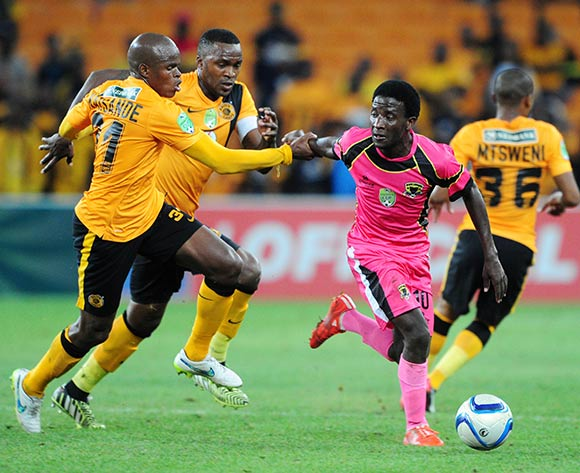 Leonard Ntshangase of Black Leopards challenged by Willard Katsande and Morgan Gould of Kaizer Chiefs  during the 2015 Nedbank Cup match between Kaizer Chiefs and Black Leopards at the FNB Stadium, Johannesburg on the 21 March 2015  ©Muzi Ntombela/BackpagePix