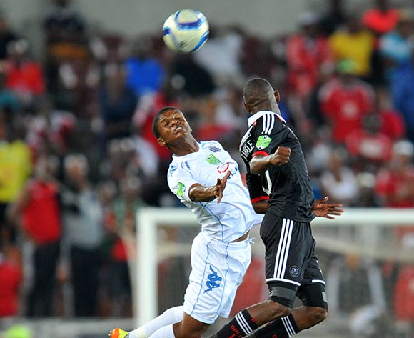 Thabo Moloi of Supersport United challenged by Thabo rakhale of Orlando Pirates during the Nedbank Cup match between Supersport United and Orlando Pirates at the Peter Mokaba Stadium in Polokwane, South Africa on March 21, 2015 ©Samuel Shivambu/BackpagePix