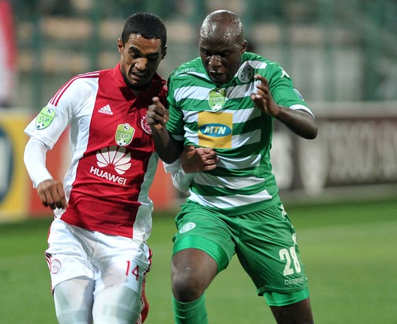 Tasriq Morris of Ajax Cape Town and Musa Bilankulu of Bloemfontein Celtic during the Nedbank Cup match between Ajax Cape Town and Bloemfontein Celtic at the Athlone Stadium in Cape Town, South Africa on March 20, 2015