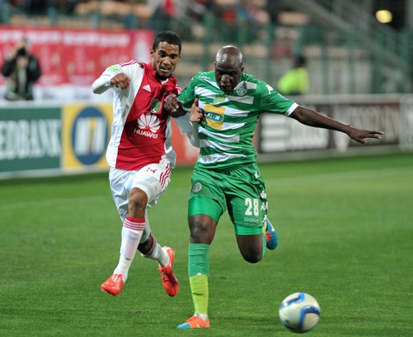 Tashreeq Morris of Ajax Cape Town and Musa Bilankulu of Bloemfontein Celtic during the Nedbank Cup match between Ajax Cape Town and Bloemfontein Celtic at the Athlone Stadium in Cape Town, South Africa on March 20, 2015