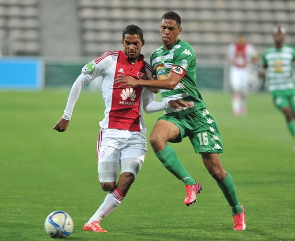 Tashreeq Morris of Ajax Cape Town and Bevan Fransman of Bloemfontein Celtic  during the Nedbank Cup match between Ajax Cape Town and Bloemfontein Celtic at the Athlone Stadium in Cape Town, South Africa on March 20, 2015