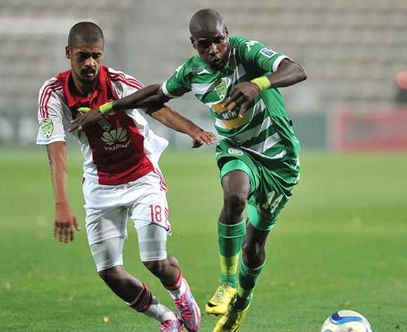 Abbubaker Mobara of Ajax Cape Town and Lerato Lamola of Bloemfontein Celtic during the Nedbank Cup match between Ajax Cape Town and Bloemfontein Celtic at the Athlone Stadium in Cape Town, South Africa on March 20, 2015 ©BackpagePix