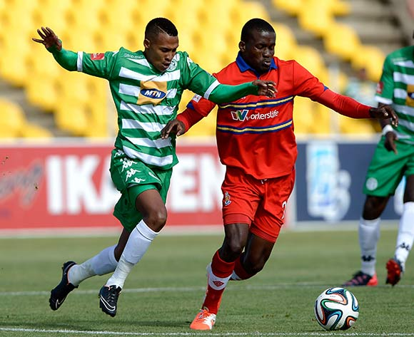 Gregory Maasdorp of Bloemfontein Celtic FC. and Ronald Ketjijere of University Pretoria FC during the Absa Premiership match between Bloemfontein Celtic FC and University of Pretoria FC. at Kaizer Sebothelo Stadium on 5 April 2015. ©Gerhard Steenkamp/BackpagePix