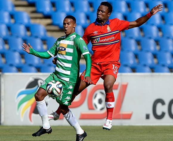 Gregory Maasdorp of Bloemfontein Celtic FC. and Partson Jaure of University Pretoria FC during the Absa Premiership match between Bloemfontein Celtic FC and University of Pretoria FC. at Kaizer Sebothelo Stadium on 5 April 2015. ©Gerhard Steenkamp/BackpagePix