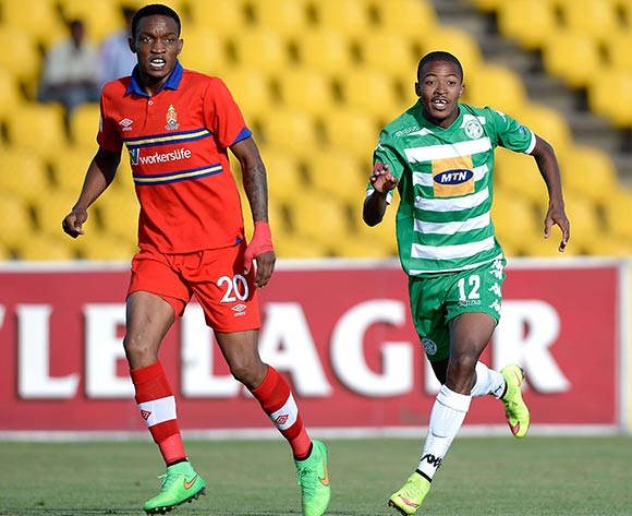 Grant Kekana of University Pretoria FC and Thapelo Morena of Bloemfontein Celtic FC. during the Absa Premiership match between Bloemfontein Celtic FC and University of Pretoria FC. at Kaizer Sebothelo Stadium on 5 April 2015. ©Gerhard Steenkamp/BackpagePix