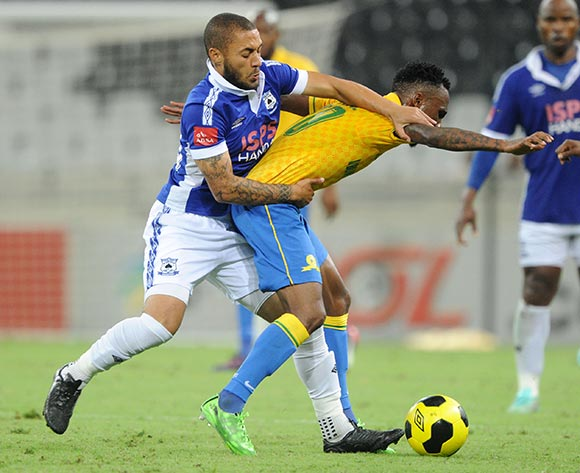 Teko Modise of Mamelodi Sundowns battles with Miguel Timm of Black Aces during the Absa Premiership 2014/15 match between  Black Aces and Mamelodi Sundowns at the Mbombela Stadium, Mbombela on the 08 April 2015  ©Muzi Ntombela/BackpagePix