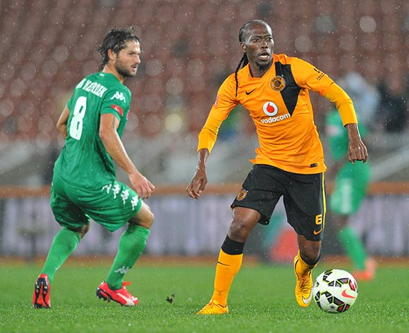 Reneilwe Letsholonyane of Kaizer Chiefs challenged by Marc Van heerden of AmaZulu during the Absa Premiership 2014/15 match between Kaizer Chiefs and AmaZulu at the Peter Mokaba Stadium in Limpopo, South Africa on April 09, 2015 ©Samuel Shivambu/BackpagePix