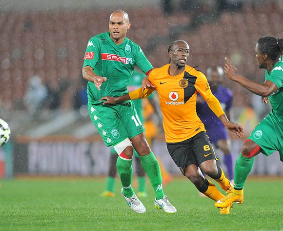 Reneilwe Letsholonyane of Kaizer Chiefs challenged by Robyn Johannes Mbulelo Mabizela of AmaZulu during the Absa Premiership 2014/15 match between Kaizer Chiefs and AmaZulu at the Peter Mokaba Stadium in Limpopo, South Africa on April 09, 2015 ©Samuel Shivambu/BackpagePix