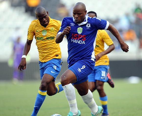 Colin Mbesuma of Black Aces is closed down by Hlompho Kekana of Mamelodi Sundowns during the Nedbank Cup Match between Black Aces and Mamelodi Sundowns  on 12 April2015 at Mbombela Stadium Pic Sydney Mahlangu/BackpagePix