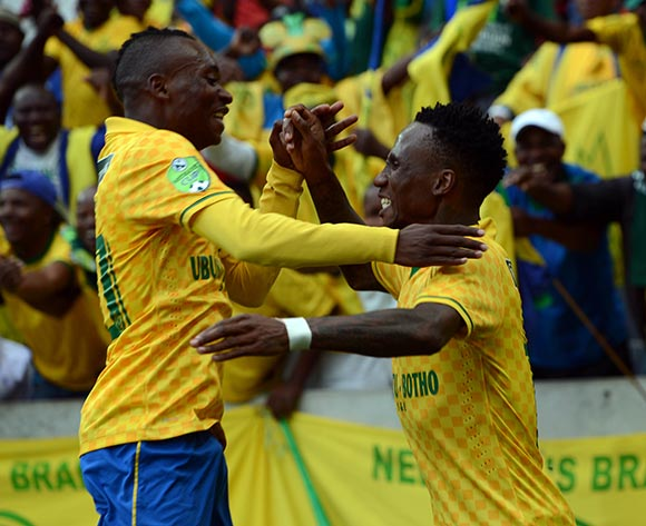 Teko Modise of Mamelodi Sundowns celebrates his team first goal during the Nedbank Cup Match between Black Aces and Mamelodi Sundowns  on 12 April2015 at Mbombela Stadium Pic Sydney Mahlangu/BackpagePix